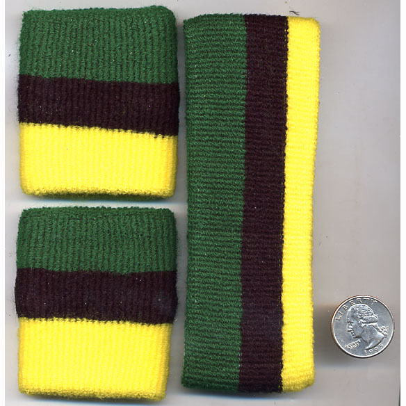 80'S TERRY CLOTH JAMAICA FLAG COLORS HEADBAND & WRISBAND SET